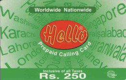 Pakistan Prepaid 250 RS. Card Hello Pak Telecom - Pakistan