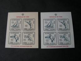 == Cuba , Blöcke Olympiade 1960  Beide Papiersorten  ** MNH - Blocks & Kleinbögen