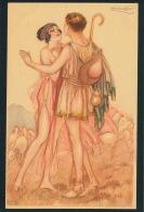 FEMMES - FRAU - LADY - Jolie Carte Fantaisie Portrait Couple Amoureux Antiquité Signée MAUZAN - Mauzan, L.A.