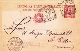 Postkarte Fil. C 30/04 Von Genova Nach St. Gallen/Schweiz (l127) - Ganzsachen