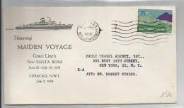 ANTILLES NEERLANDAISES - TIMBRE SUR ENVELOPPE AVEC CAD WILLEMSTAD DU 2/07/1958 GRACE LINE S NEW SANTA ROSA - West Indies