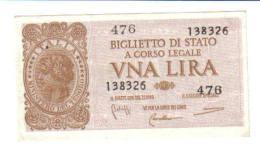 1 LIRA ITALIA LAUREATA 1944 LUOGOTENENZA SUP LOTTO 1376 - [ 1] …-1946 : Regno