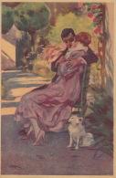 FEMMES - FRAU - LADY - DOG -  Jolie Carte Fantaisie Italienne Portrait Couple Amoureux Et Chien  (signée) - Autres Illustrateurs