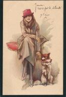FEMMES - FRAU - LADY - DOG -  Jolie Carte Fantaisie Italienne Portrait Femme Et Chien  (signée) - Autres Illustrateurs