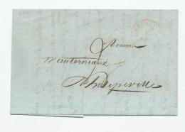 Lettre Précurseur CHIMAY 1843 Vers PHILIPPEVILLE - Superbe Entete Despret Frères , Maitre De Forges --  WW837 - 1830-1849 (Belgique Indépendante)