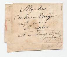 Lettre Transportée Hors Poste 1836 - TEMSCHE à ST NICOLAES - Signé Alex Wattens  --  WW845 - 1830-1849 (Belgique Indépendante)