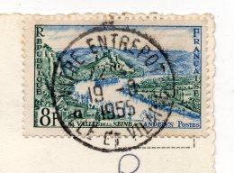 Beau Cachet Manuel --VITRE-ENTREPOT--35--sur Carte Postale De Vitré--35--tp Seine Aux Andelys - Marcophilie (Lettres)