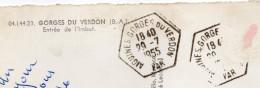 Beau Cachet Manuel --AIGUINES GORGES DU VERDON--83--recette Auxiliaire Sur Cp Entrée De L'Imbut (animée)----tp Absent - Marcophilie (Lettres)