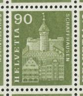 1530 - Baudenkmäler Grosse DOPPELPRÄGUNG Der 90 Rp. Munot Im Kompletten Bogen - Abarten