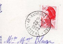 """2 Cachets -AUMONT--48-- 1 Manuel + 1 Avec Secap Muette  Sur La Même Carte Postale""""Gorges Du Tarn"""" - Marcophilie (Lettres)"""