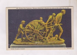 CPA BRONZE CAST  TYPITYING MORMON HAND CART, PIONNERS EN ROUTE TO SALT LAKE CITY In 1856!! - Salt Lake City