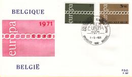 België - FDC 1-5-1971 - Europa/CEPT - M 1633-1634 - 1971