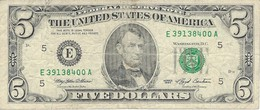 UNITED STATES 5 DOLLARS 1993 P-491E CIRC. WITH TEAR UNDER FACE VALUE [US491E] - Federal Reserve Notes (1928-...)