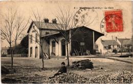 MARINES (95) La Gare - Très Très Rare - Très Belle Carte Postée - Marines