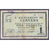 LRDBYMA6214-LBTBIMGC0498-B-D.BILLETES DE LERIDA. LA GUERRA CIVIL.  1 PTA. AYUNTAMIENTO DE CERVERA - [ 2] 1931-1936 : Repubblica