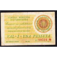 BCNBYMA6214-LBTBIMGC0611-B.BILLETES DE BARCELONA. LA GUERRA CIVIL.  1 PTA. AYUNTAMIENTO DE ESPARRAGUERA - [ 2] 1931-1936 : República