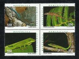 DOMINICAN REP. 2016 - Fauna Dominicana – Green Lizards - Repubblica Domenicana