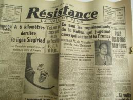 """Journal/""""Résistance""""/La Voix De Paris / Les R Jugeront Ceux Qui Ont Trahi La France/4 Oct 1944   VJ89 - Army & War"""