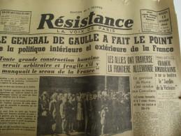 """Journal/""""Résistance""""/La Voix De Paris / Le Général De Gaulle A Fait Le Point/13 Sept1944   VJ91 - Army & War"""