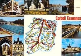 91 - CORBEIL ESSONNES : Petit Lot De 2 CPSM CPM GF (n° 1/14) : Multivues Avec Carte Géographique - Essonne - Corbeil Essonnes