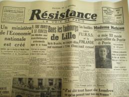 """Journal/""""Résistance""""/La Voix De Paris /Un Ministére De L´Economie Nationale Est Créé/5 Sept1944   VJ92 - Militaria"""