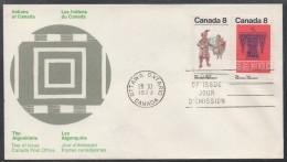 INDIENS - ALGONQUINS / 1973 CANADA ENVELOPPE FDC ILLUSTREE (ref LE444) - American Indians