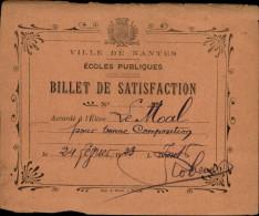 ECOLES - SCENES D´ECOLE - école - Billet De Satisfaction - Ecole De Nantes - Vieux Papiers