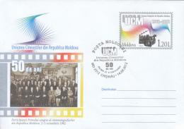 CINEMA, MOLDAVIAN FILMMAKERS UNION, COVER STATIONERY, ENTIER POSTAL, OBLIT FDC, 2012, MOLDOVA - Kino