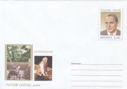 CINEMA, VICTOR CIUTAC, ACTOR, COVER STATIONERY, ENTIER POSTAL, 2010, MOLDOVA - Kino