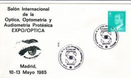 Spain Cover P/m Madrid 1985 Optica, Optometria Y Audiometria Protesica  (G85-45) - Termalismo