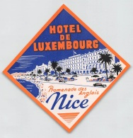 """05863 """"FRANCIA - NICE - PROMENADE DES ANGLAIS - HOTEL DE LUXEMBOURG"""" ETICHETTA ORIGINALE - Hotel Labels"""