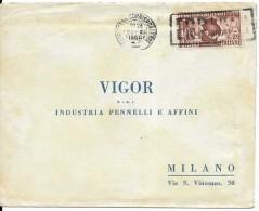 Busta Pubblicitaria Viaggiata 1950 Per Milano Con Francobollo Isolato Bari Fiera Del Levante 1950 - 6. 1946-.. Repubblica