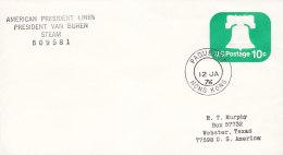 """SCHIFFSPOST,  """"President Van Buren"""", Der American President Lines, Paquebot Hong Kong 12.JAQ 1976 - Maritime"""