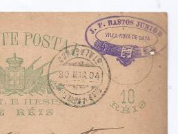 POSTAL INTEIRO Carimbo Comercial Empresa J.P.BASTOS JUNIOR Villa Nova De Gaya / Gaia PORTO 1904 - Porto