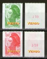 Liberté=2191a** + 2192a** Avec N° Rouge Verso - Roulettes