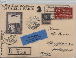 1926 1. Flugpost Basel - Schaffhausen Binnenschiffahrts Ausstellung - Recommandee Offizielle Karte Mit Vig. F3 - Poste Aérienne