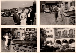 4 Photos Originales Voiture - VW Beetle, Borgward Isabella, Mercedes, Parking En Folie Près De Bad Krozingen En 1959