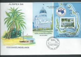 Cocos Keeling Island 1984 Ausipex Miniature Sheet On FDC Official Unaddressed - Kokosinseln (Keeling Islands)