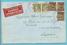 337+341 Op Brief Per EXPRES Met Stempel BRUGGE 1J - 1931-1934 Mütze (Képi)