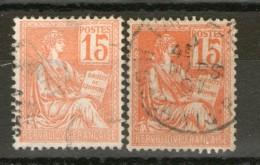 2 N° 117 Avec 2 Belles Nuances - 1900-02 Mouchon
