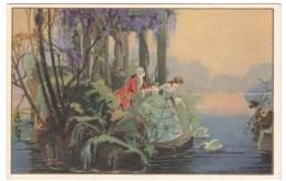 Unknown Artist Image, Romance Couple Garden Island Swans, C1920s Vintage Italian Ballerinin & Fratini Postcard - Illustrators & Photographers