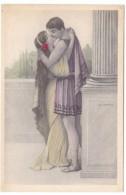 W. Braun Artist Image, Romance, Roman Theme Couple, Classic Love Series Fashion, C1920s Vintage Postcard - Braun, W.