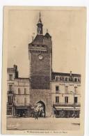 (RECO / VERSO) VILLENEUVE SUR LOT EN 1952 - N° 9 - PORTE DE PARIS AVEC GRAND CAFE - BEAU CACHET - FORMAT CPA - Villeneuve Sur Lot