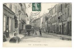 """YVELINES  /  TRIEL  /  LA  GRANDE-RUE  ET  L' EGLISE  ( Calèche De Livraison """" BOULANGERIE  GIRON """" ) - Triel Sur Seine"""