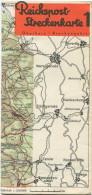 Reichspost-Streckenkarte 1 - Oberharz Brockengebirge - Kraftpostfahrpläne Sommer 1936 - Faltblatt - Europa