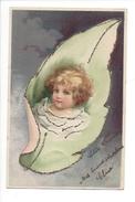 14924 - Petit Ange Dans Feuille Avec Brillant Envoyée En 1910 - Bébés