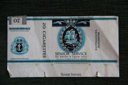 """Paquet De 20 Cigarettes  """" SENIOR SERVICE """", ENGLAND - Empty Cigarettes Boxes"""