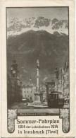 Innsbruck - Sommer-Fahrplan Der Lokalbahnen 1914 - Faltblatt - Europa