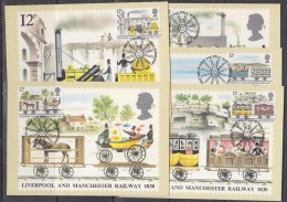 Great Britain 1980 Liverpool And Manchester Railway 1830 5v  5 Maxicards (30970) - Maximumkaarten