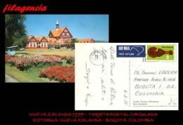 AUSTRALIA & OCEANÍA. NUEVA ZELANDA. ENTEROS POSTALES. TARJETA POSTAL CIRCULADA 1977. ROTORUA-BOGOTÁ - Postal Stationery